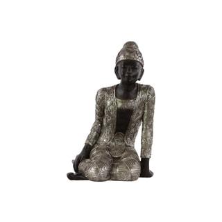 Resin Sitting Buddha Figurine with Rounded Ushnisha and Engraved Design Metallic Finish Silver