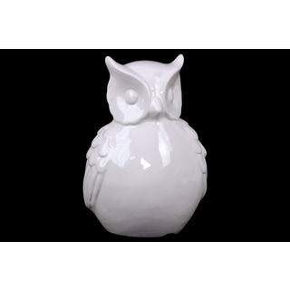 Ceramic White Large Bellied Owl Figurine