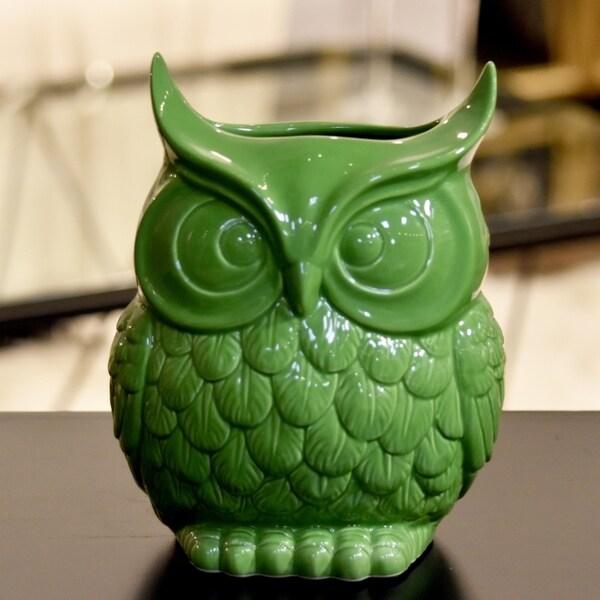 UTC73073: Ceramic Owl Figurine/Vase LG Gloss Finish Lime Green