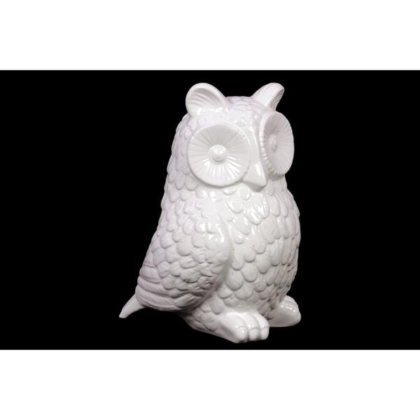 White Ceramic Owl Figurine