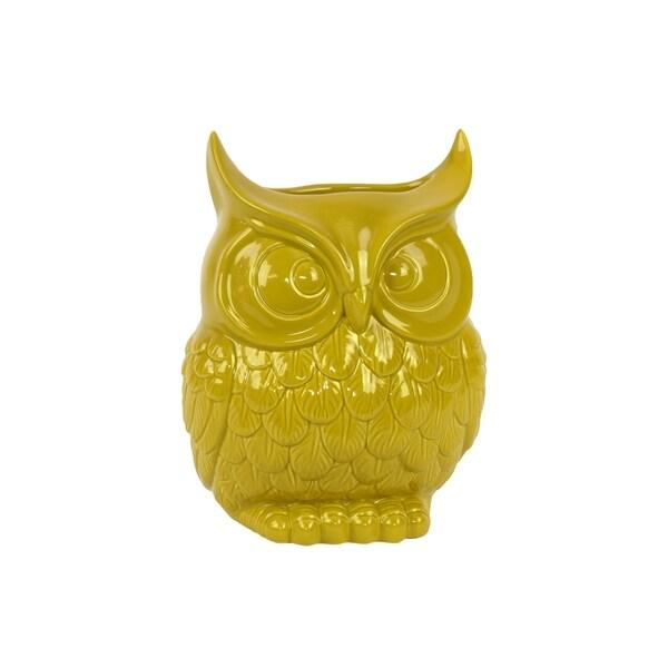UTC73074: Ceramic Owl Figurine/Vase LG Gloss Finish Yellow