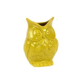 Ceramic Amber Owl Vase