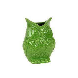 Ceramic Lime Green Owl Vase