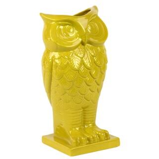 Ceramic Amber Owl Vase on Square Base