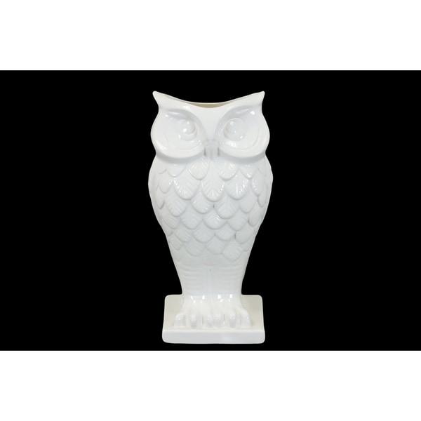 Shop Ceramic White Owl Vase On Base Free Shipping Today