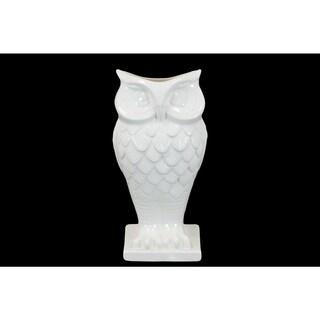 Ceramic White Owl Vase on Base