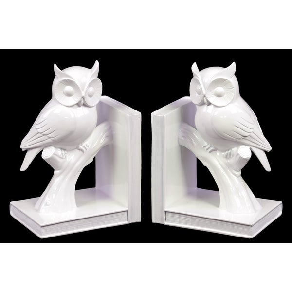 Ceramic White Owl on Tree Branch Bookend (Set of 2)