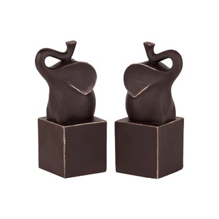 Matte Espresso Brown Finish Resin Trumpeting Elephant on Cube Platform Bookend (Set of 2)