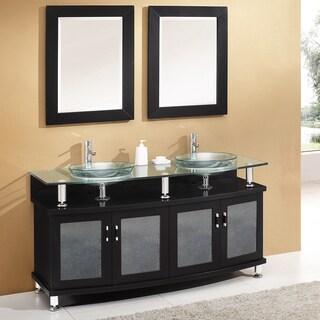 "Fresca Contento 60"" Espresso Double Sink Modern Bathroom Vanity w/ Mirrors"