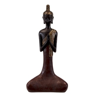 Large Matte Maroon Finish Resin Meditating Buddha Figurine with Long Pointed Ushnisha in Anjali Mudra