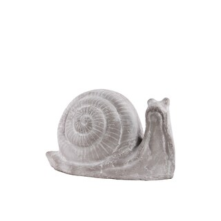 Terracota Snail Figurine Small Washed Concrete Finish Gray