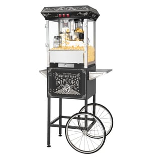 Great Northern Black 8 Ounce Classic Style Popcorn Popper Machine with Cart