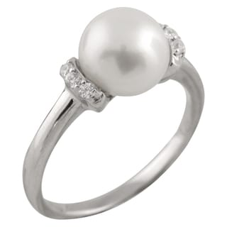 Sterling Silver Fancy Cubic Zirconia and Freshwater Pearl Ring (8-9mm)