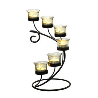 Adeco Accent Candle Holder With Clear Glass, Holds 6 Pillar Candles