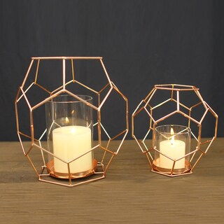 Adeco Accent Metal Candle Holder Stand, Set of Two