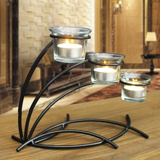Adeco Candle Holder With Clear Glass, Holds 3 Pillar Candles