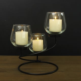 Adeco Metal Candle Holder With Clear Glass, Holds 3 Pillar Candles