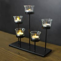 Adeco Metal Stand with Glass 5 Tealights Candle Holder
