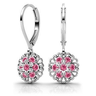 Lucia Costin Sterling Silver Pink Crystal Earrings with Flower