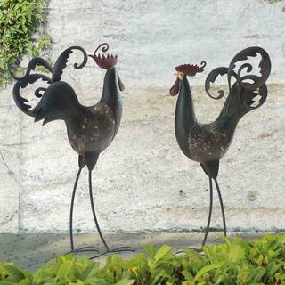 Sunjoy Tall Rooster and Hen Iron Garden Statues (Set of 2)