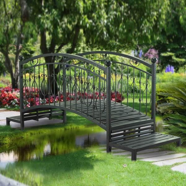 Black steel sunjoy garden bridge free shipping today for Garden pond bridges sale