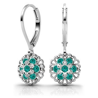 Lucia Costin Sterling Silver Turquoise-green Crystal Earrings with Flower