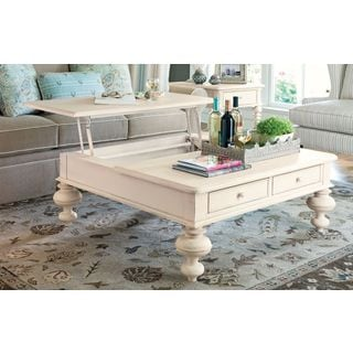 paula deen home put your feet up table in linen finish