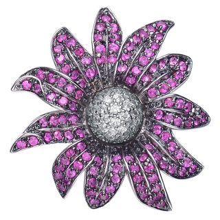 Collette Z Sterling Silver Clear and Purple Cubic Zirconia Flower Pin