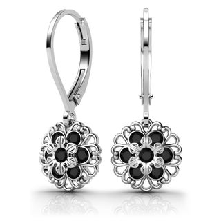 Lucia Costin Sterling Silver Black Crystal Earrings with Lovely Ornaments