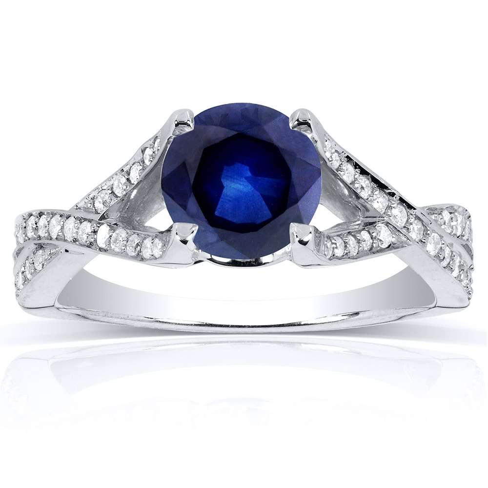 Annello by Kobelli 14k White Gold Round Sapphire and 1/4c...