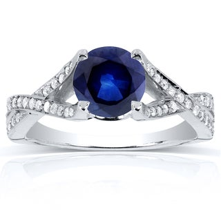 Annello by Kobelli 14k White Gold Round Sapphire and 1/4ct TDW Diamond Pave Crossover Ring