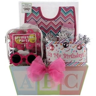 Baby's First Birthday Girl Gift Basket