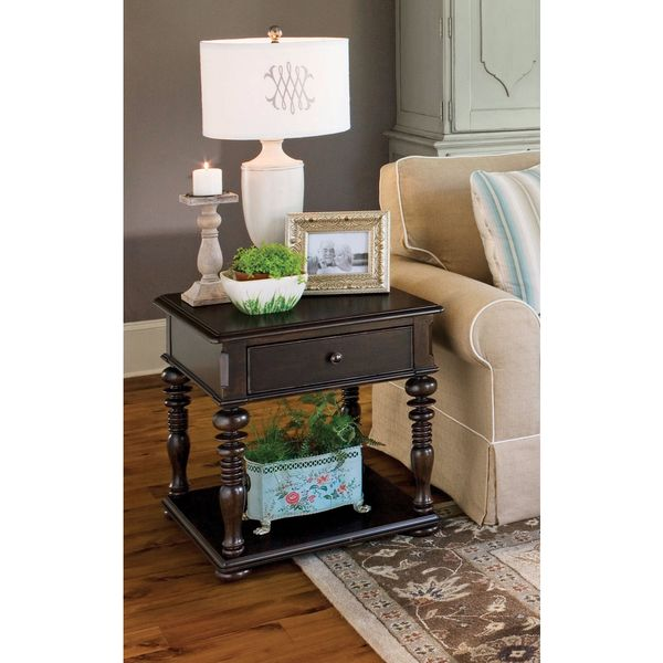 Gentil Paula Deen Home Rectangular End Table In Tobacco Finish