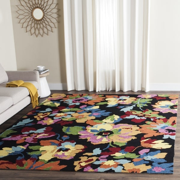 Safavieh Hand-Hooked Four Seasons Black/ Multicolored Polyester Rug (3' 6 x 5' 6)