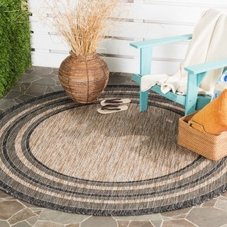 Safavieh Indoor/ Outdoor Courtyard Natural/ Black Rug (6'7 x 6'7 Round)
