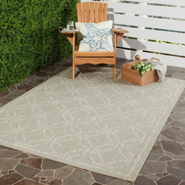 Safavieh Indoor/ Outdoor Courtyard Green/ Grey Rug - 8' X 11'