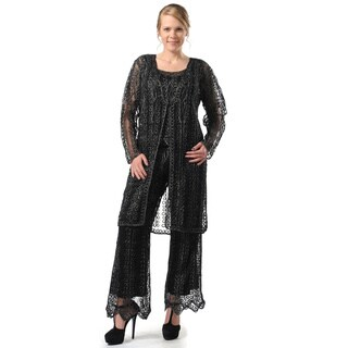 Soulmates Women's 3-piece Wide Leg Black Pants Set