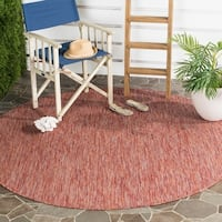 Safavieh Indoor/ Outdoor Courtyard Red/ Red Rug - 6' 7 Round