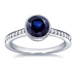 Annello 14k White Gold Round Sapphire and 1/4ct TDW Diamond Bezel Ring (G-H, I1-I2)