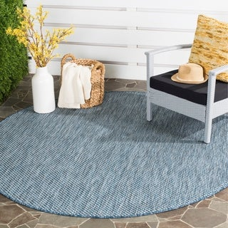 Safavieh Indoor/ Outdoor Courtyard Navy/ Grey Rug (6' 7 Round)