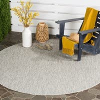 Safavieh Indoor/ Outdoor Courtyard Grey/ Turquoise Rug - 6' 7 Round