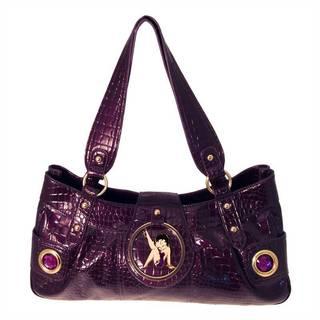 Betty Boop Purple Faux Textured Leather Long Handbag