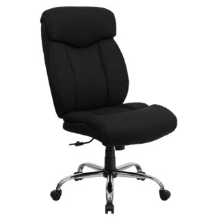 Levans Big and Tall Armless Black Fabric Executive Swivel Office Chair