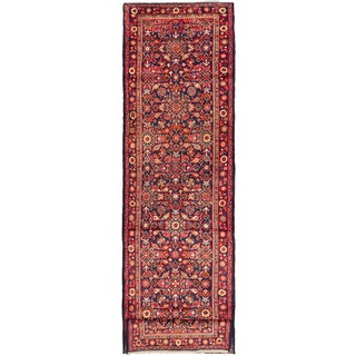 ecarpetgallery Hand-Knotted Persian Mahal Blue, Red Wool Rug (3'7 x 14'2)