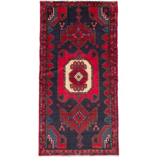ecarpetgallery Hand-Knotted Persian Zanjan Blue, Red Wool Rug (4'1 x 8'0)