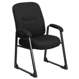 Maral Big and Tall Black Fabric Office Visitor Reception Chair with Sled Base
