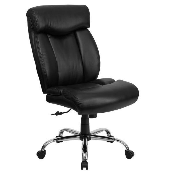 Levans Big And Tall Armless Black Leather Executive Swivel