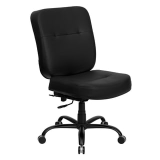Tisar Big and Tall Black Leather Executive Swivel Adjustable Office Chair with Extra Wide Seat