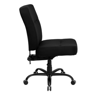 Tisar Big and Tall Black Fabric Armless Swivel Adjustable Office Chair with Extra Wide Seat