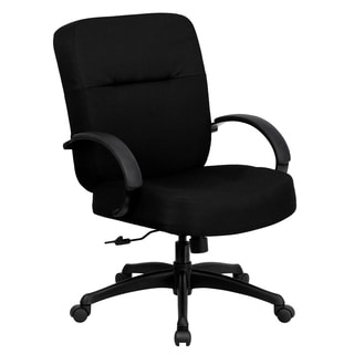 Werth Big and Tall Black Fabric Executive Swivel Office Chair with Extra Wide Seat and Height Adjustable Arms